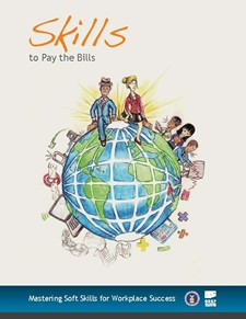 "logo of ""skills to pay the bills"" depicting professional people with tools around the globe"